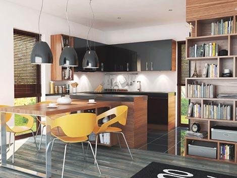 Moderný bungalov očami mladých architektov, jedáleň